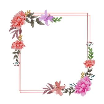 Цветы красивый венок элегантная цветочная коллекция с изолированными синими розовыми листьями и цветами рисованной акварелью