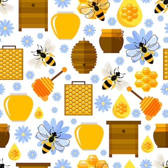 Flowers, bees and honey seamless pattern