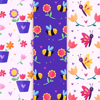 Flowers and bees spring seamless pattern
