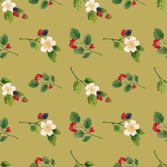 Flowers and berries seamless pattern watercolor