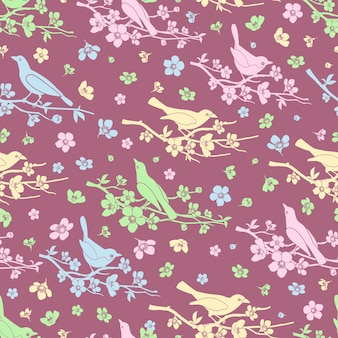 Flowers and birds seamless background. bloom and branch, decoration pattern, love and romantic, vector illustration
