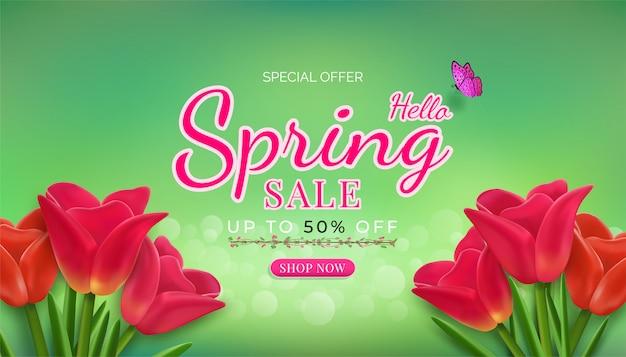Flowers bloom in the seasonal spring banner