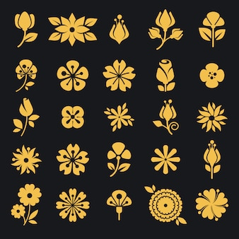 Flowers blossom and leaf vector silhouette icons