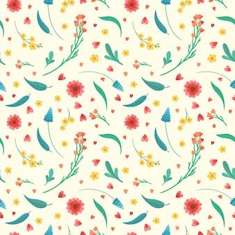 꽃 꽃과 잎 원활한 패턴