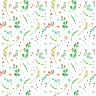Flowers blossoms and leaves flat retro seamless pattern.