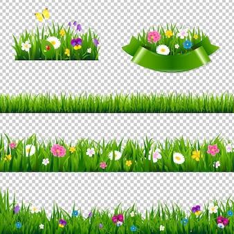 투명에 고립 된 꽃 테두리 컬렉션