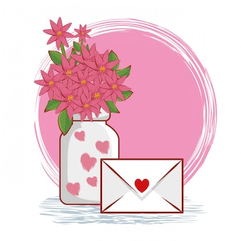 Flowers bouquet inside vase with love card
