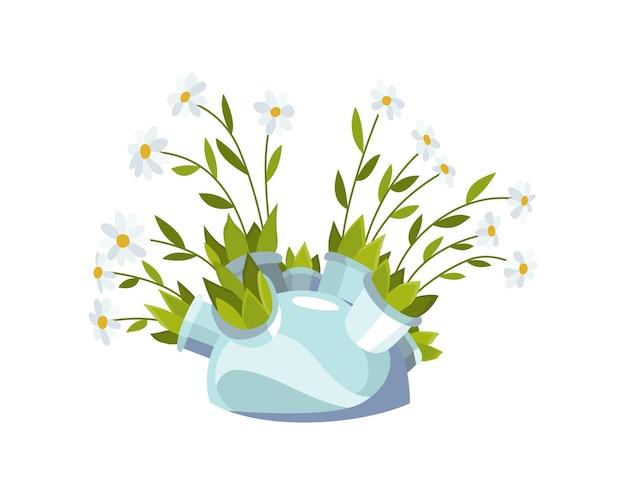 Букет цветов из ромашек. элемент дизайна для поздравительной открытки или открытки.