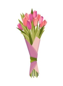 Букет цветов из тюльпанов. элемент дизайна для поздравительной открытки или открытки.