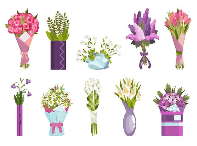 Flowers bouquet set