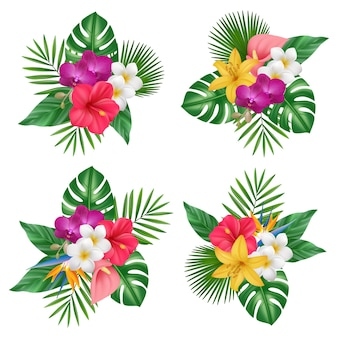 Flowers bouquet. tropical exotic plants bali nature forest realistic pictures collection. illustration floral exotic, tropical blossom realistic