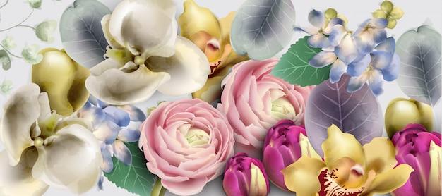 꽃 꽃다발 수채화