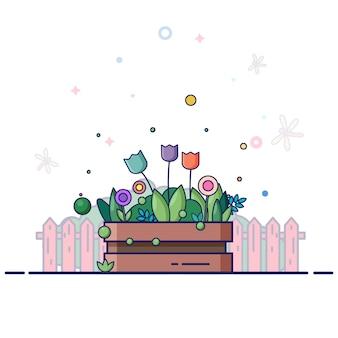 여름에 꽃 상자 정원. 여러 가지 빛깔 튤립과 식물.
