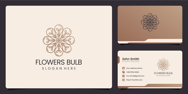 Flowers bulb logo combine and business card