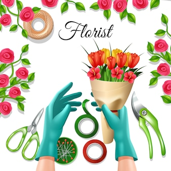 Flowers in bunch with florist equipment and tools tulip and rose