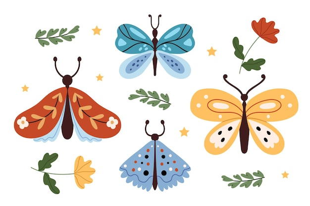 Flowers and butterflies in boho style Premium Vector