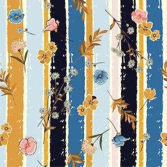 Flowers on candy colorful brush stripe seamless pattern