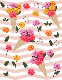 花のカーネーションのパターンベクトルの背景イラストのテンプレート