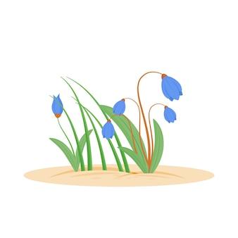 꽃 만화 그림 봄 신선한 잔디 정원에서 bloomin 허브 지상에서 성장하는 녹색 잔디 도라지 평면 색상 개체 흰색 배경에 고립 된 성장 잔디