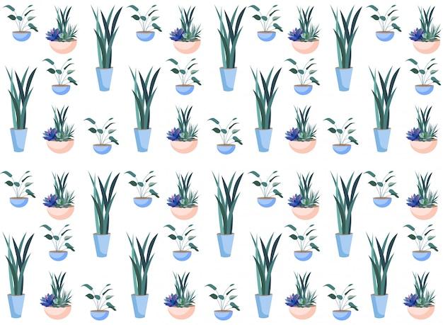 Flowers in ceramic pots botanical seamless pattern