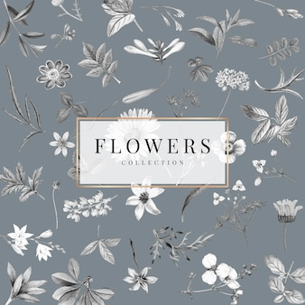 회색 배경에 꽃 모음