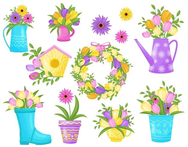 白い背景の上の花のコレクション。春のコンセプトです。
