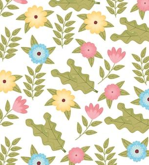 花の色と葉ガーデンパターン背景イラスト Premiumベクター