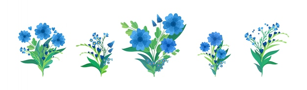 Flowers compositions flat illustrations set. blue bouquets isolated decorations