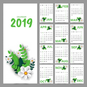Flowers decorated yearly calendar