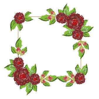 花飾り自然エレガントな正方形のフレーム、イラスト絵画