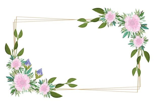 花飾り自然フレームレイアウト、イラスト絵画