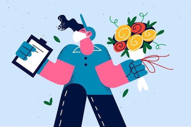 Доставка цветов курьером иллюстрация
