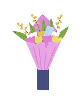 꽃 배달 세미 플랫 컬러 벡터 개체입니다. 독특한 선물 만들기. 화려한 튤립 꽃다발입니다. 꽃집 디자인 배열 그래픽 디자인 및 애니메이션에 대한 격리 된 현대 만화 스타일의 그림