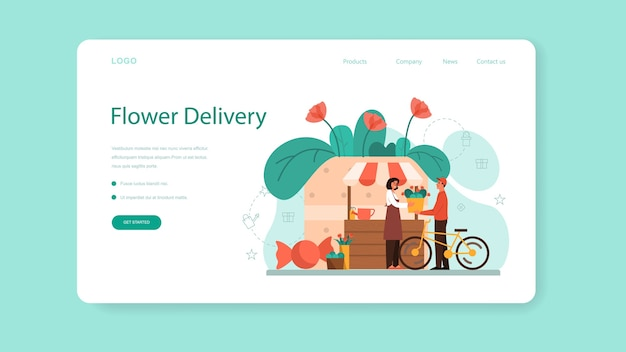 Концепция службы доставки цветов веб-баннер или целевая страница.