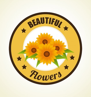 Flowers design over beige illustration