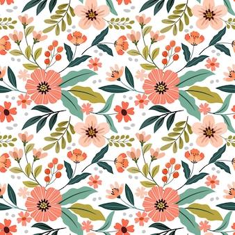 Дизайн цветов на белом цветном фоне бесшовные обои для тканевых текстильных обоев.
