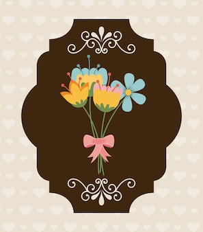 Flowers design over pattern background vector illustration