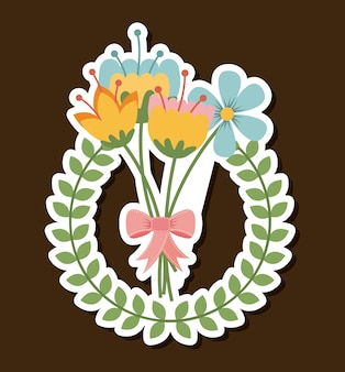 Flowers design over white background vector illustration
