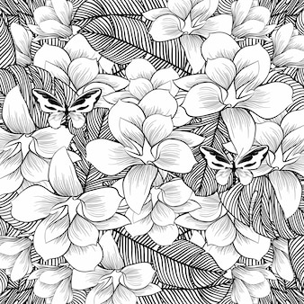 Flowers drawing with line-art on white background