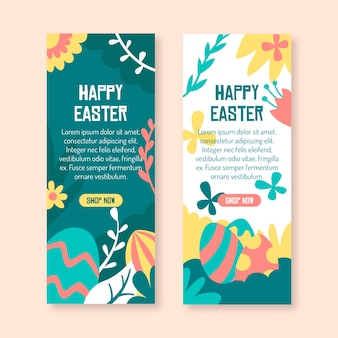 Flowers and eggs happy easter banner template