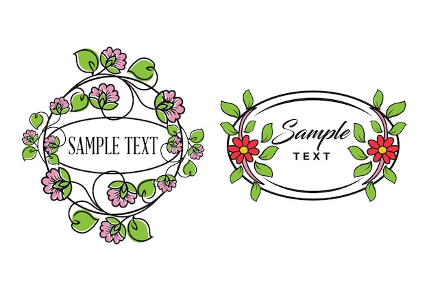 Flowers emblems frames and logo with beauty studio lettering composition