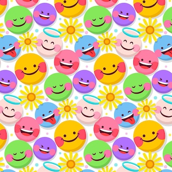 Flowers and emoticons pattern template