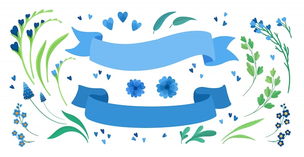 Flowers and empty ribbons flat  illustrations set. blooming meadow wildflowers, green leaves and hearts greeting, invitation card design elements pack. blank blue stripes isolated decorations