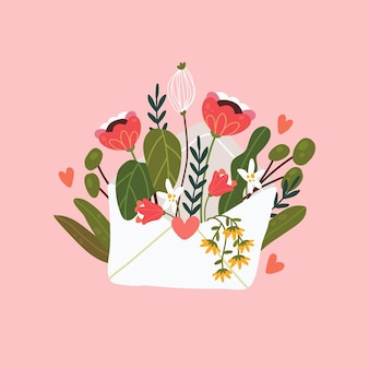 Flowers in an envelope. floral mail. happy valentine's day