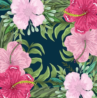 Flowers exotic hibiscus and foliage decoration background,  illustration painting