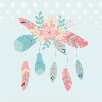 Flowers and feathers decoration boho style
