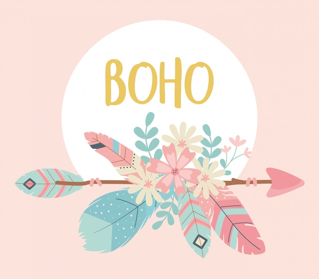 Flowers and feathers with arrows decoration boho style