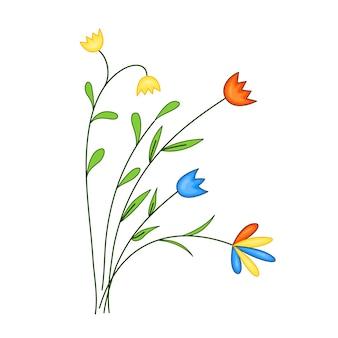 꽃밭, 귀여운 만화 스타일의 꽃다발. 벡터 일러스트 레이 션 흰색 배경에 고립입니다.