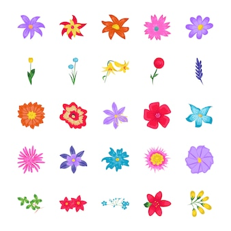 Flowers flat vector icons