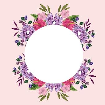 花花花自然の葉装飾バッジテンプレートイラスト絵画